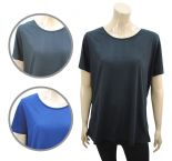 Wholesale Womens Ex Chainstore T-Shirt R Neck Top Plus Size Black & Navy